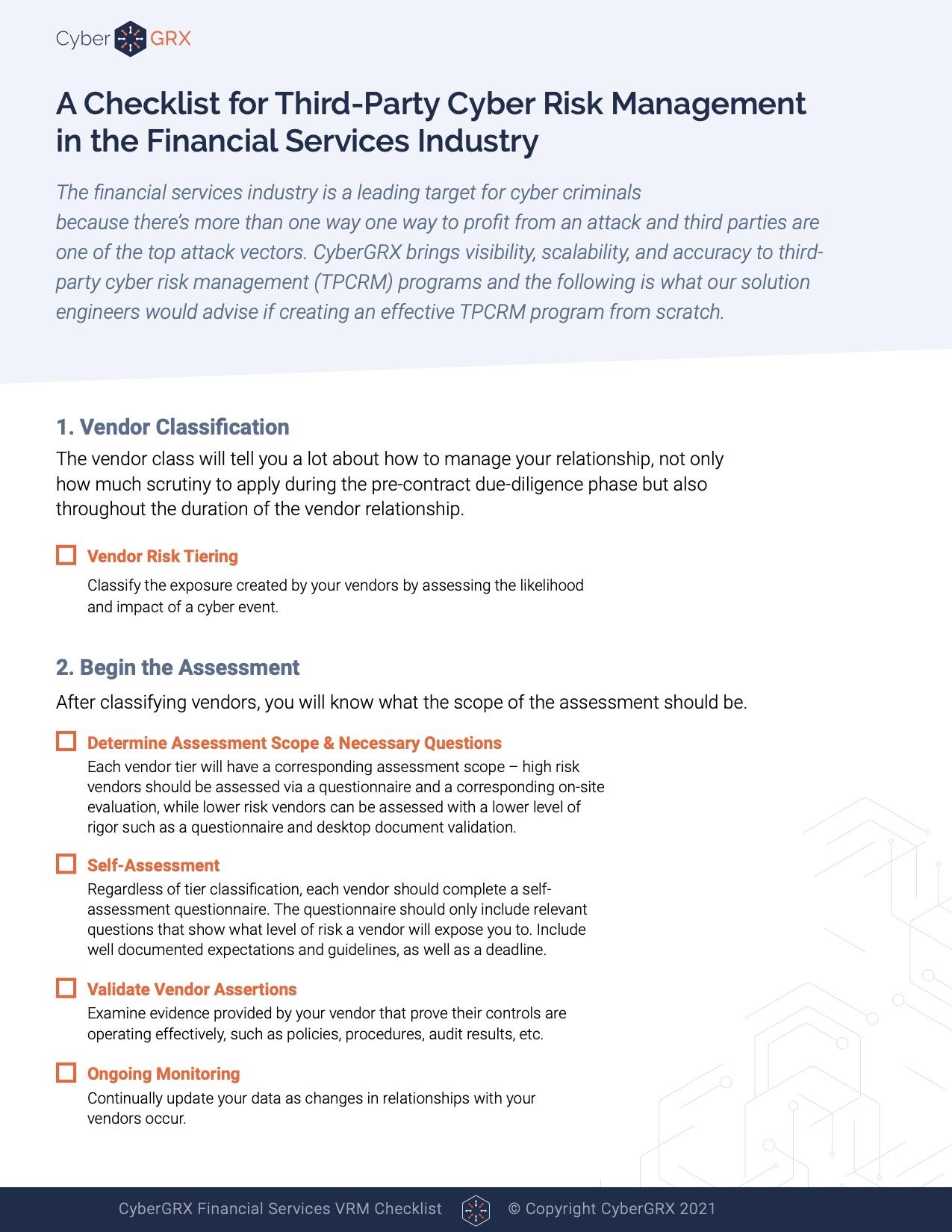 Financial services checklist