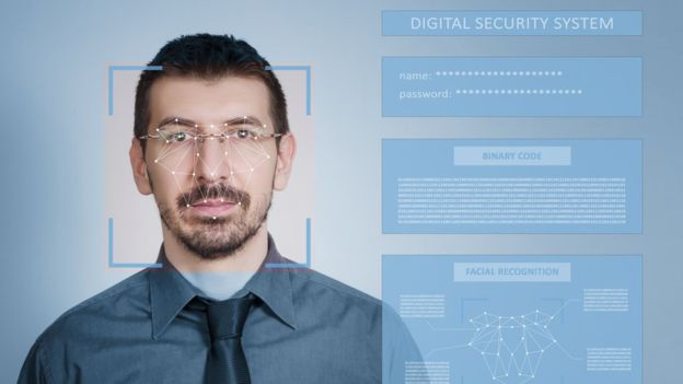 An artist's impression of a facial recognition system